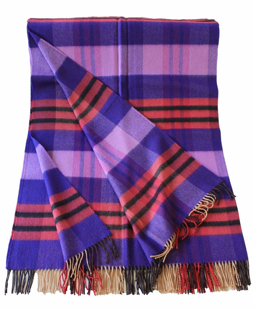 Decke Farbe Fuchsia: Decke, Kariert, Violett, Schwarz, Fuchsia, Merino Wolle