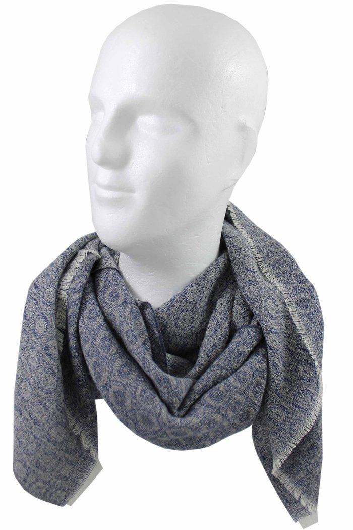 Merino Schal Webschal Jacquard modisch blau grau 100/% Wolle R-627