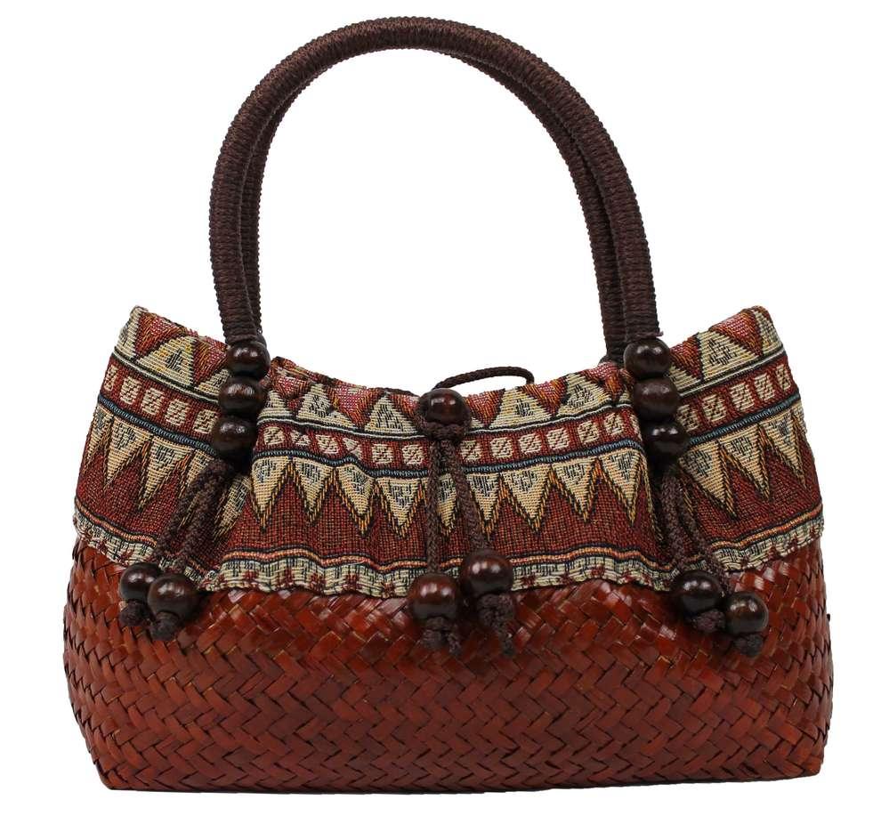 9fd9c0645c226 Handtasche Strohtasche Einkaufstasche Strandtasche in braun-orange Schilf